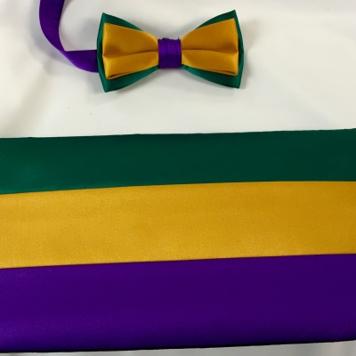 Traditional Mardi Gras Cummerbund and Bow Tie Retail