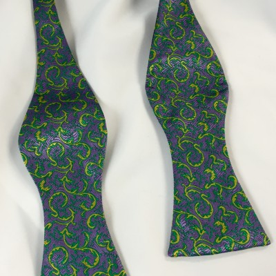 Mardi Gras Dragonfly Self Tie Bow Tie