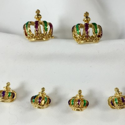 Mardi Gras Raised Crowns Tri-Color Studs & Cufflinks
