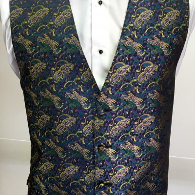 Mardi Gras Masquerade Vest and Bow Tie Retail