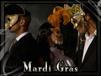 People at a Mardi Gras ball with formal wear from John's Tuxedos in New Orleans, LA