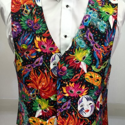Mardi Gras Feathers Vest and Bow Tie Retail