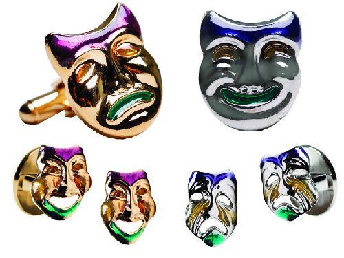 Mardi Gras Enamel Mask Cufflink