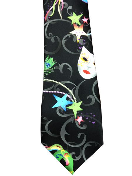 Mardi Gras Mask Neon Black Suit Tie