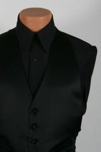 Black Laydown Collar Plain Front