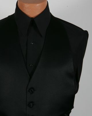 Black Laydown Collar Plain Front