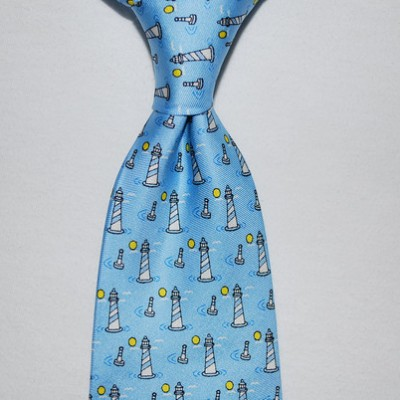 Lighthouses Tie Blue