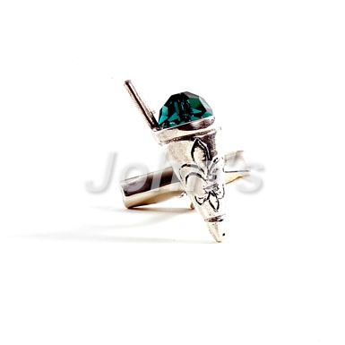 Green Snowball Sterling Cufflink