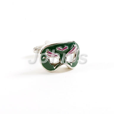 Green & Purple Mardi Gras Venetian Mask Cufflinks