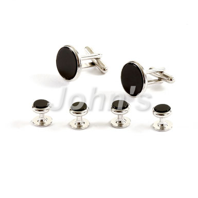 Silver Trimmed Black Onyx Stone Stud and Cufflink Set
