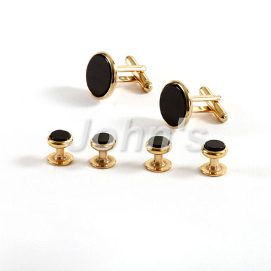 Gold Trimmed Black Onyx Stone Stud and Cufflink Set