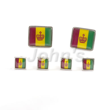 Mardi Gras Flag Stud and Cufflink