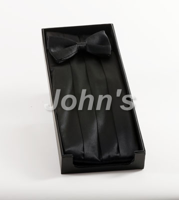Black Silk Cummerbund and Bow Tie
