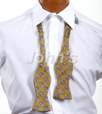 Gold LSU Tiger Head Self Bow Tie
