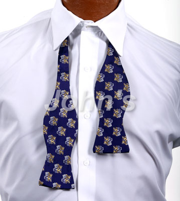 Purple LSU Tiger Head Self Bow Tie