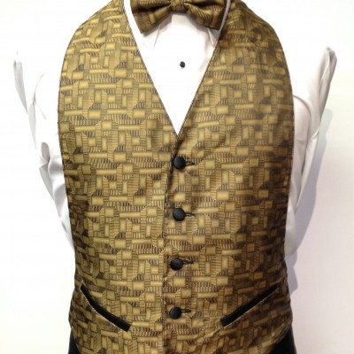 Gold Geo Vest and Bow Tie