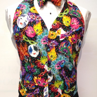 Mardi Gras Feathers Vest and Bow Tie Rental