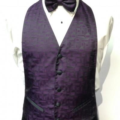 Purple Geo Vest and Bow Tie