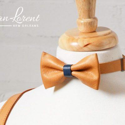 Camel - Navy Bow Tie