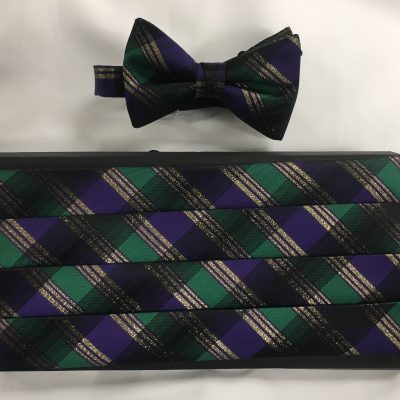 Mardi Gras Plaid Cummerbund and Bow Tie