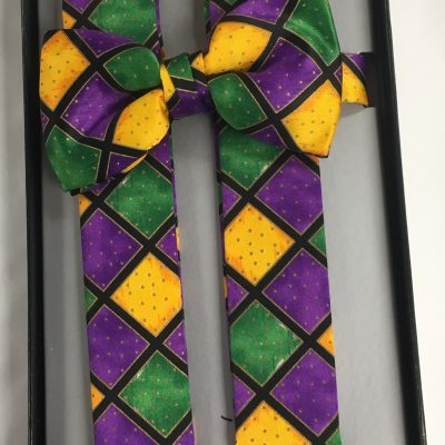 Mardi Gras Diamond Suspenders and Bow Tie