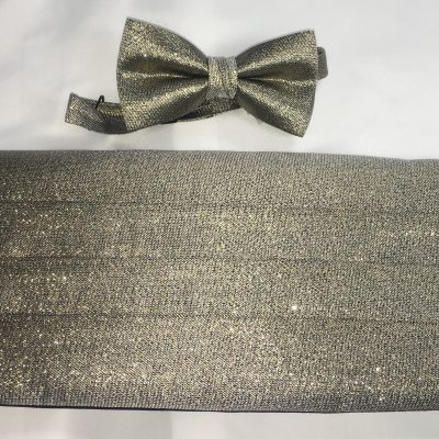 Gold Metallic Cummerbund and Bow Tie