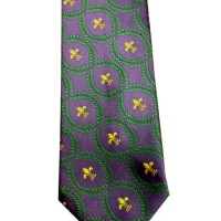 Fleur di Lis Suit Tie Purple Green and Gold
