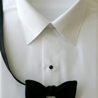 White Laydown Collar Plain Front