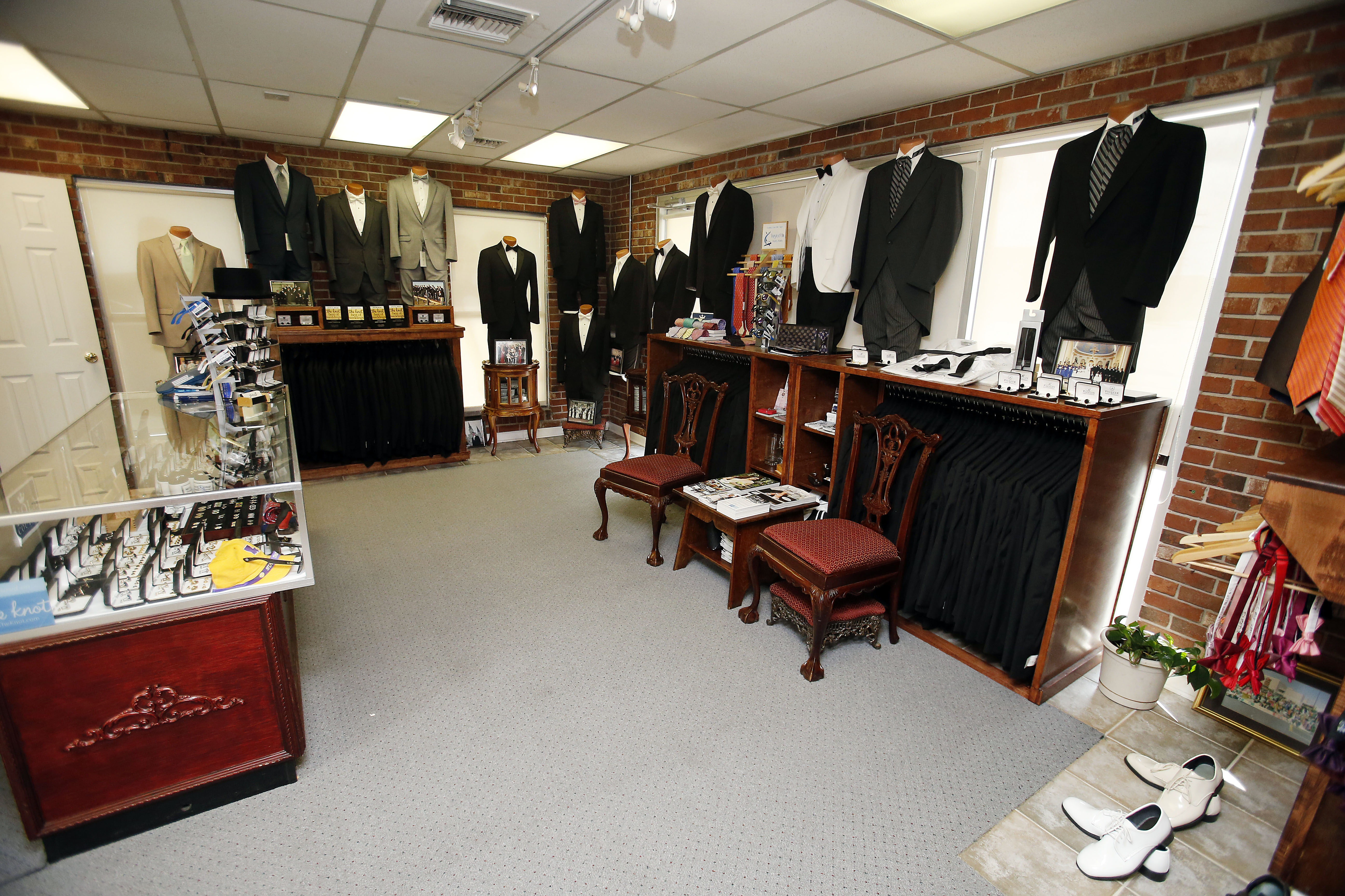 Inside of John's Tuxedos in Metairie, LA a men's clothing store and tuxedo rentals
