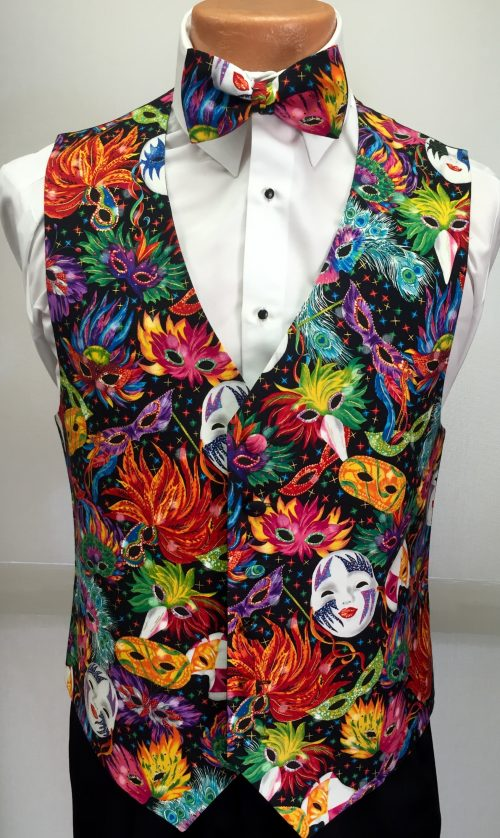 Mardi Gras Feathers Vest and Bow Tie