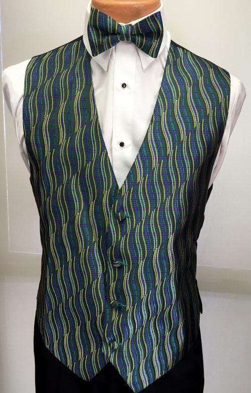 Mardi Gras Swirl Vest and Bow Tie