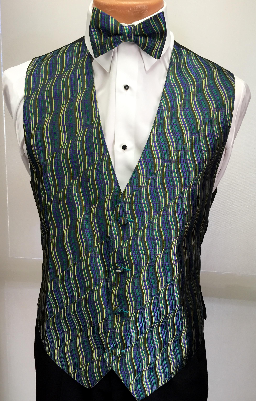 Mardi Gras Swirl Vest and Bow Tie
