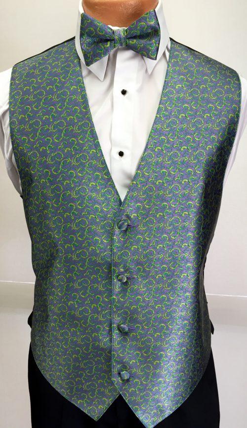 Mardi Gras Dragonfly Vest & Bow Tie