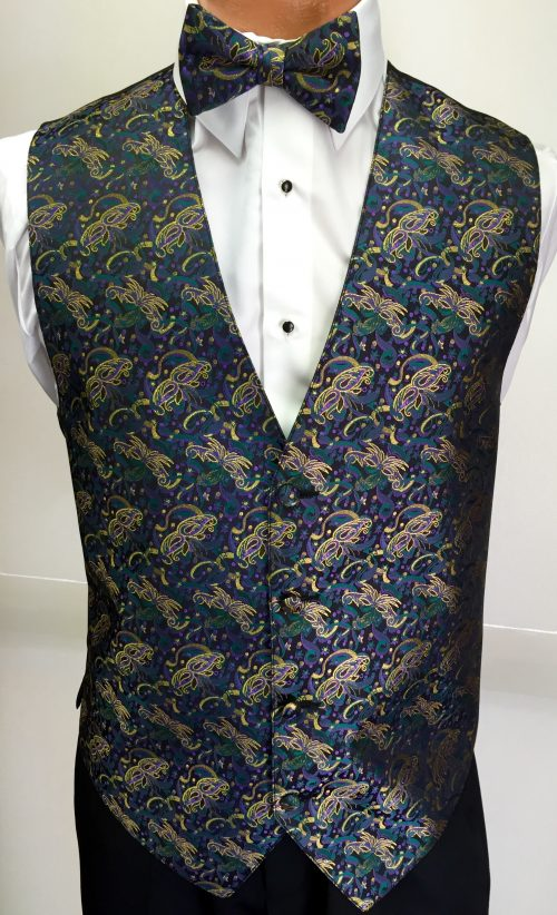 Mardi Gras Masquerade Vest and Bow Tie