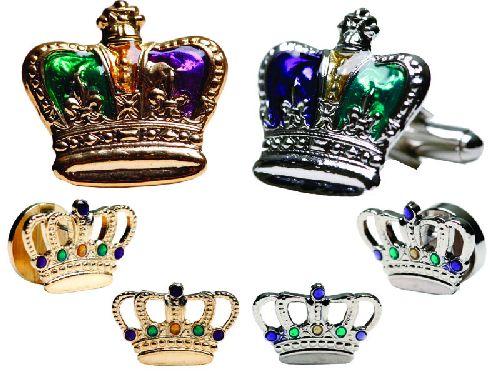 Mardi Gras Enamel Crown Cufflink