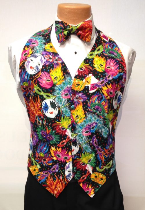 Mardi Gras Feathers Vest and Bow Tie RentalMardi Gras Feathers Rental Vest and Bow Tie