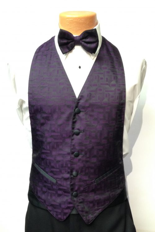 Purple Geo Vest and Bow Tie