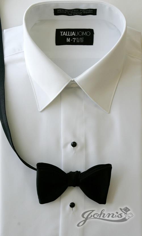 White Laydown Collar Plain Front