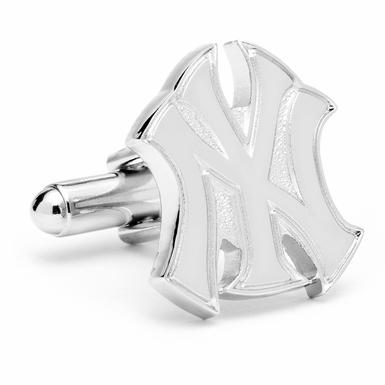 Silver New York Yankees Logo Cufflinks