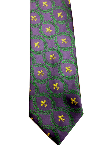 Fleur di Lis Suit Tie Purple Green and Gold