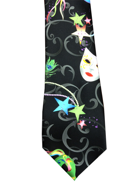 Mardi Gras Mask Neon Black Suit Tie