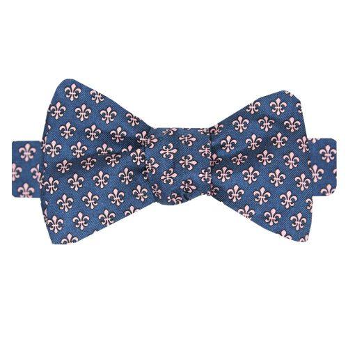 Preppy Mardi Gras Gingham Dog Bow Tie with Fleur de Lis