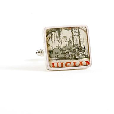 Steamboat Stamp Cufflinks