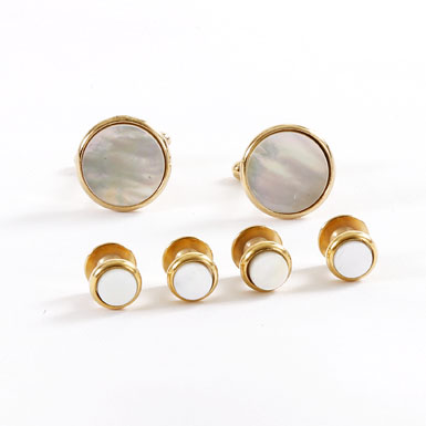 Gold Trimmed Mother of Pearl Stud and Cufflink Set