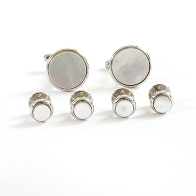Silver Trimmed Mother of Pearl Stud and Cufflink Set