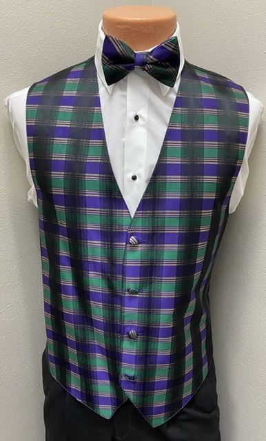 Mardi Gras Plaid Vest and Bow