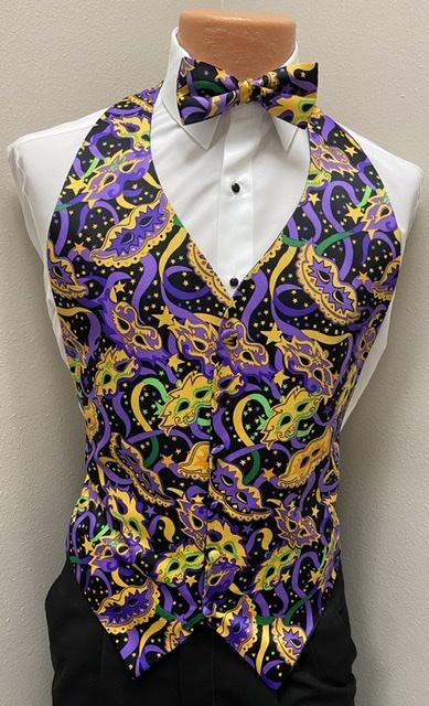 Mardi Gras Neon Vest and Bow Tie