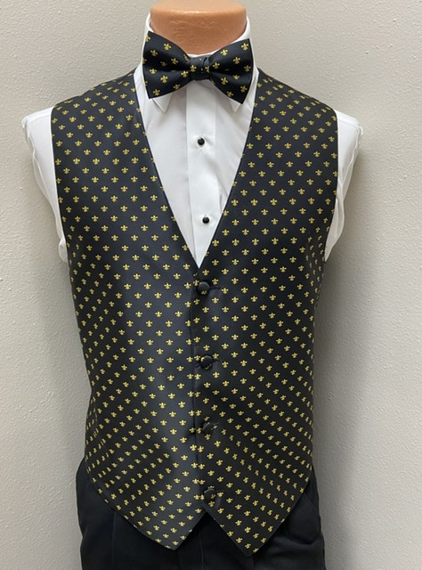 Black & Gold Fleur de Lis Vest and Bow Tie