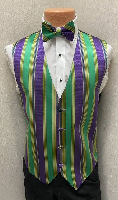 Mardi Gras Brick Vest and Bow Tie