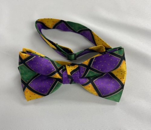 Mardi Gras Diamond Preitied Bow Tie